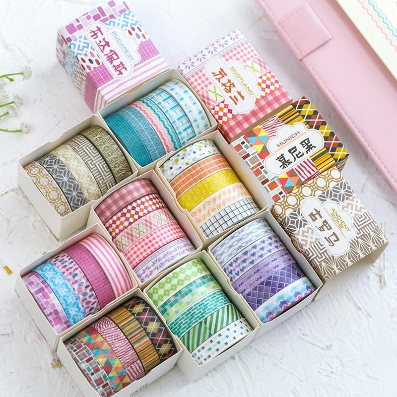 5pcs Romantic Color Geometric Washi Tape Diy Decor Scrapbooking Sticker Masking Paper Decoration Tape Adhesive School Supplies