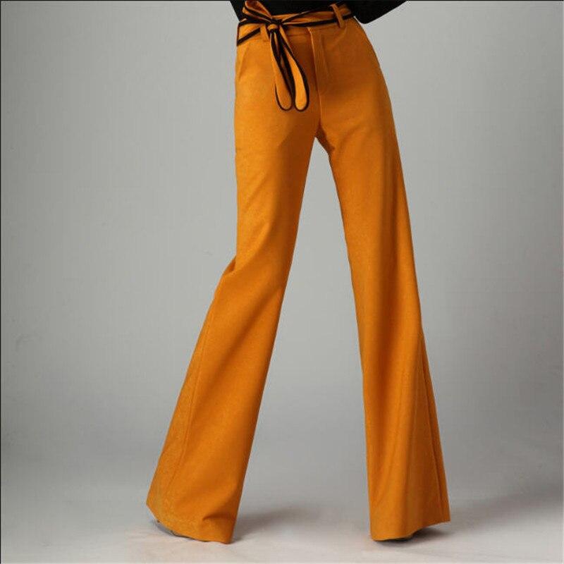Autumn And Winter Women's Fashion Bell Bottom High Waist Wide Leg Pants Black Blue Burgundy Wide Leg Pants Women A2669