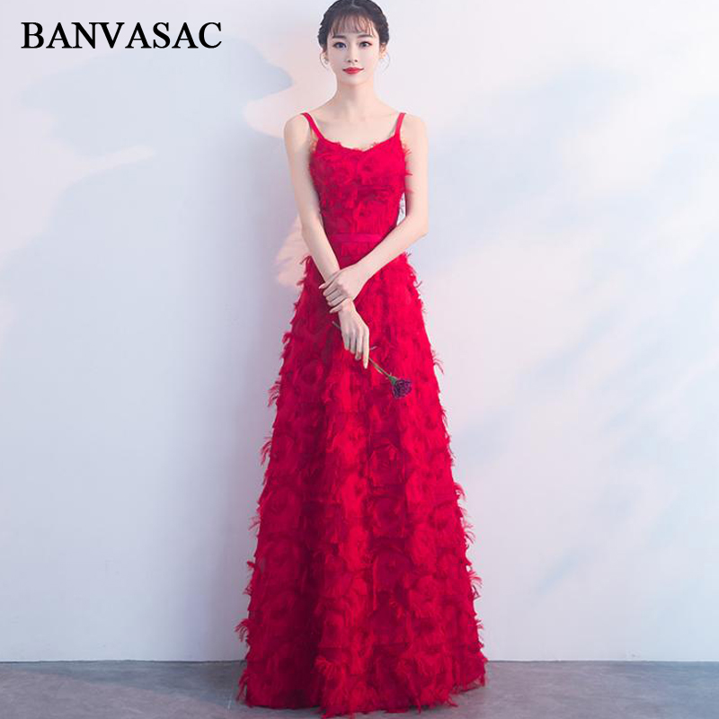BANVASAC Sweetheart Feathers A Line Long Evening Dresses 2018 Party Spaghetti Strap Sash Lace Backless Prom Gowns