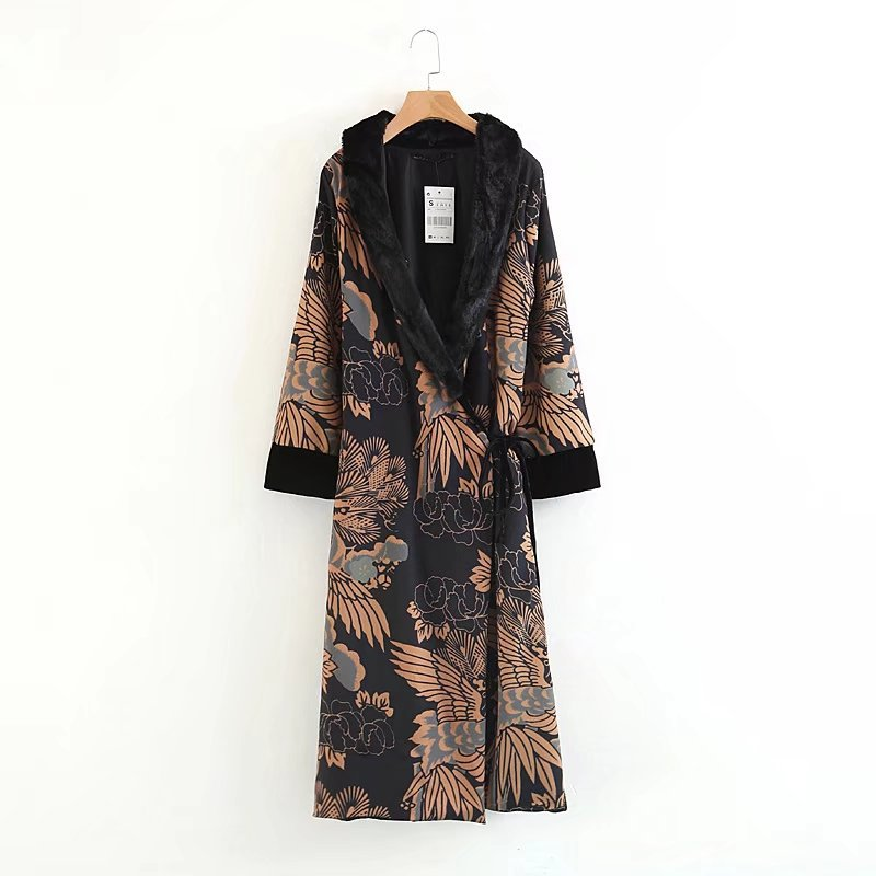Women Vintage V-Neck Belt   Trench   Pattern National Style Long Sleeve Outwear Black Floral Print Fur Collar Coats