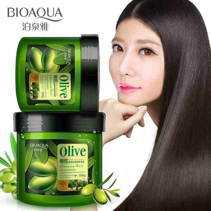 BIOAQUA 500 ml Olive Hair Mask Moisturizing Deep Repair Frizz For Dry Damaged Hair Smooth Hair Conditioner image