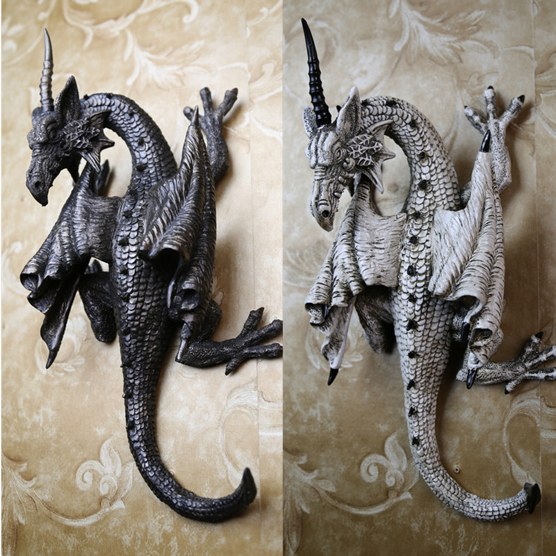 Retro Resin Wall Hanging Dragon Decoration Evil Four Feet Ornaments Black White Single Angle Home Decor In Wind Chimes