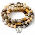 8 MM Bambus blätter Onyx Natürliche Stein Mala 108 Gebet Perlen Halskette Armband Männer Frauen Buddhistischen OM Charme Armband Yoga schmuck