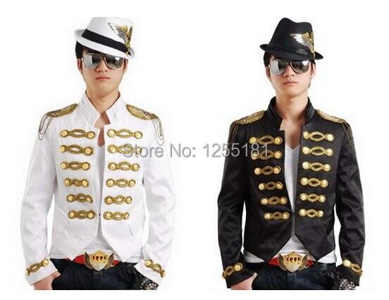 새로운 스타일의 패션 흑백 ill 조각 남성 가수 슬림 옷 남성 의상 코트 성능 재킷 재킷 착용