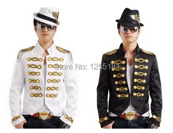 Nuevo estilo de moda negro y blanco del paillette cantante masculino ropa delgada hombres abrigo traje chaqueta chaqueta de traje de rendimiento de desgaste