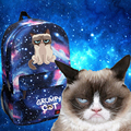 Сердитый Кот Синий Звездное Небо Рюкзак Смешные Китти Школы Мешок Cospaly 42x33x13 см
