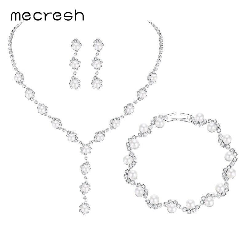 Mecresh Simulated Pearl Bride häät korut setit yksinkertainen - Muotikorut - Valokuva 6