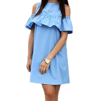 Summer Dress Causal Women Ruffles Shirt Dress Butterfly Sleeve Dress Sexy Strapless Straight Loose Dresses Vestidos
