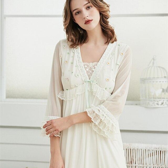 f3e1d8f61c Long Nightown Lace Embroidered Woman Homewear Gowns Gentlewoman Ladies  Elegant Sleepwear Dress Nightgown Unique Design