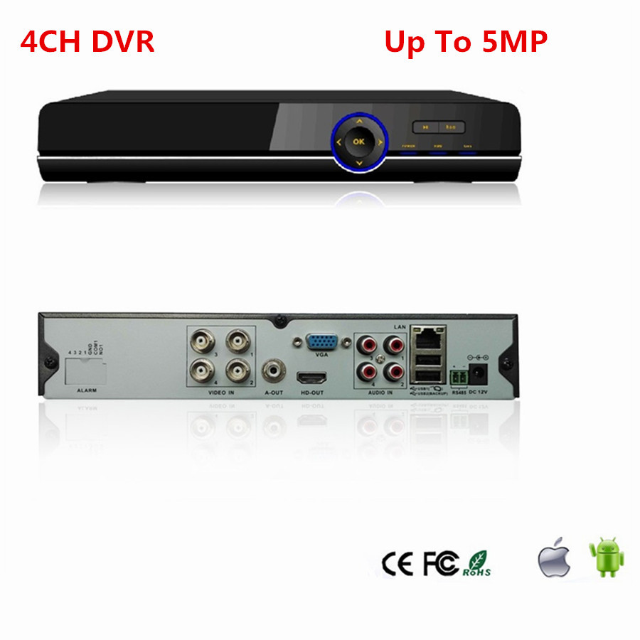 4CH AHD DVR 1080P Audio surveillance H.264 TVI CVI DVR recorder Up to 5MP HDMI P2P for AHD Camera Security CCTV System safurance h 264 8ch d1 dvr hdmi audio digital surveillance video recorder for home cctv security camera