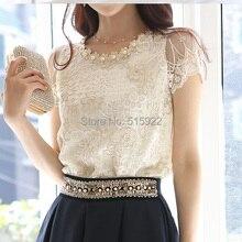 Горячие новые женские модные элегантные блузки вышитые кружева официальные топы и блузки женские рубашки блузки
