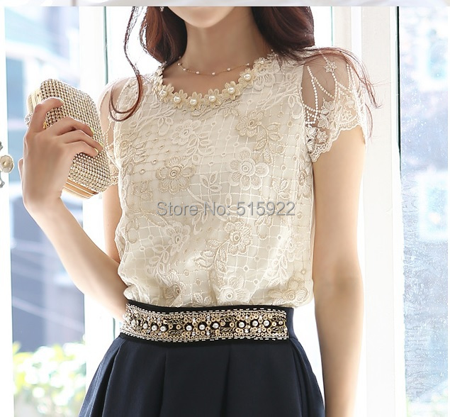 2018 Hot NEW Women's Fashion Elegant Beading Lace Embroidered The Formal Tops And Blouses Women Blouses Shirt