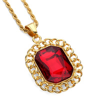 Fashion Charm Red Rhinestone Pendant Necklace Gold Plated Stainless Steel Personalized Design Filling Pieces Men Hip