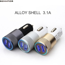 Aluminum Car Phone Charger 2 Port Mini Dual USB Car Charger Adapter plug fast Charging for iPhone Samsung Xiaomi LG android ipad