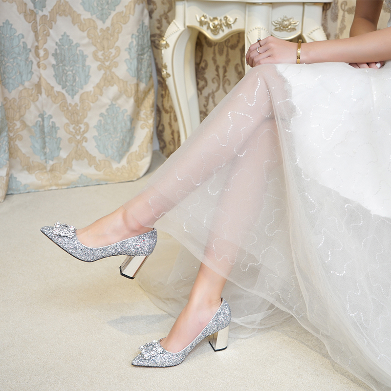 Zapatos de boda de tacón grueso zapatos de novia de cristal de mujer embarazada de lentejuelas plateadas brillantes damas de honor tacones altos cuadrados-in Zapatos de tacón de mujer from zapatos    2