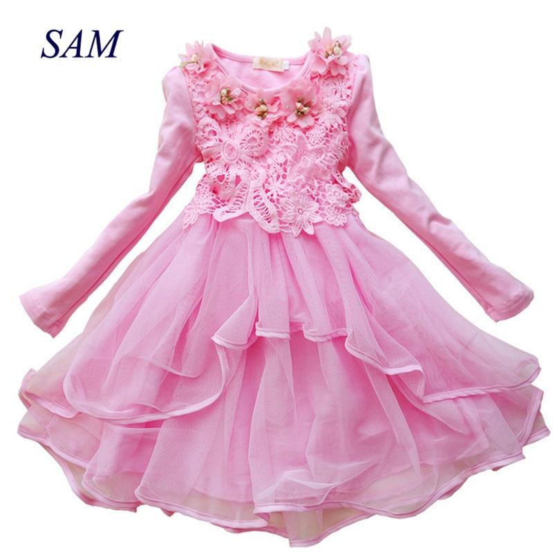2019   Flower     Girl     Dress   Princess tutu party gift wedding veil   flower     girl     dress   children   dress   pink green macarons candy colors