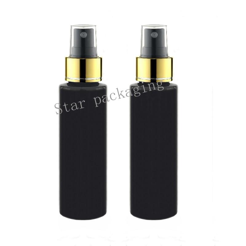 Hot 50pcs lot 100ml Cosmetic Perfume Plastic Gold Spray Black Bottle Refillable Makeup Women Water Sprayer