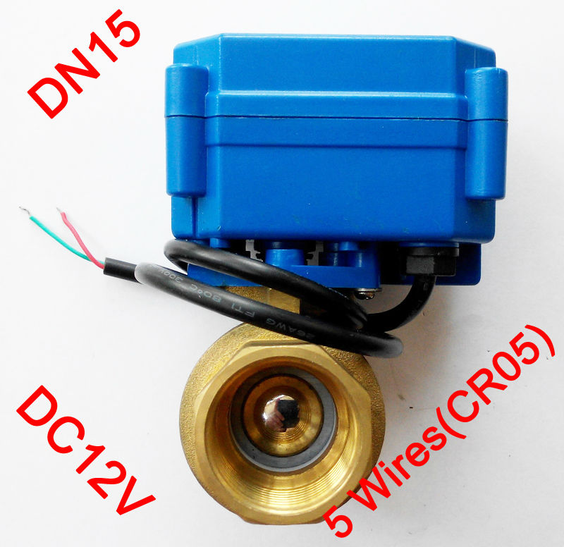 1/2 Electric ball valve, DC 12V Motorized valve with 5 wires(CR 05), DN15 Electric valve with for water heater