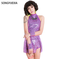 2017 songyuexia حلي مثير المطربة مدور الملابس placketing شىء قطعة واحدة اللباس 5 ألوان sl