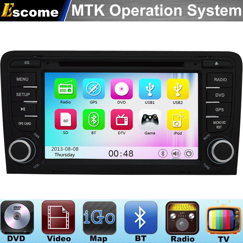 MTK3360 Car DVD Player For Audi R3 Audi RS3 AUDI A3 2003 2004 2005 206 2007 2008 2009 2010 2011 800MHz CPU Bluetooth Radio GPS