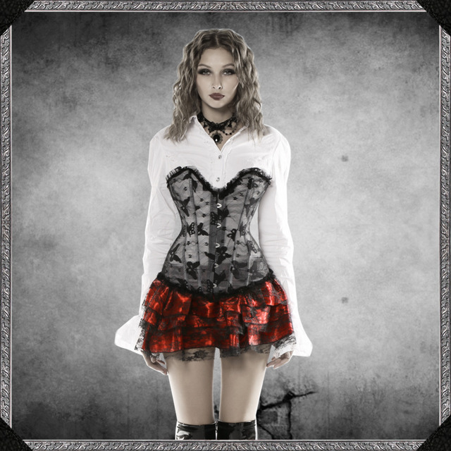 2016 New Women corsets high quality Sexy Butterfly embroidery Corset black lace corset Bustiers Party Corselet Top S-2XL