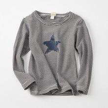 2019New Unisex Children Clothes Kids T-shirt baby boys Girls Casual T-shirt long sleeve Striped Tops blouse 2T 3T 4T 5T 6T 7T стоимость