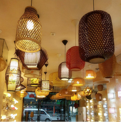 Southeast Asia style hand knitting bamboo art Chandelier Coffee E27 LED lantern lamp for porch&parlor&stairs&corridor LHDD035