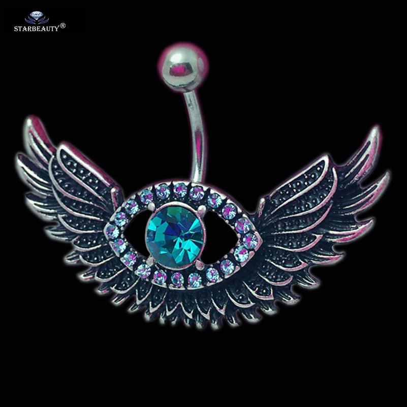 Starbeauty 1pc Flying Wing Menebal Pusingan Pendaratan Nombril Bright Blue Gem Belly Button Cincin Belang Belly Piercing Ombligo Badan Perhiasan