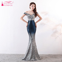 Off The Shoulder Evening Dresses Mermaid Sequined Prom Gowns Elegant Two Color Maid Of Honor Gowns Vestido De Festa ZE059