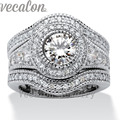 Vecalon Fashion Vintage Engagement Wedding band Ring Set for Women 2ct Cz Diamond 10KT White Gold Filled Party Finger ring