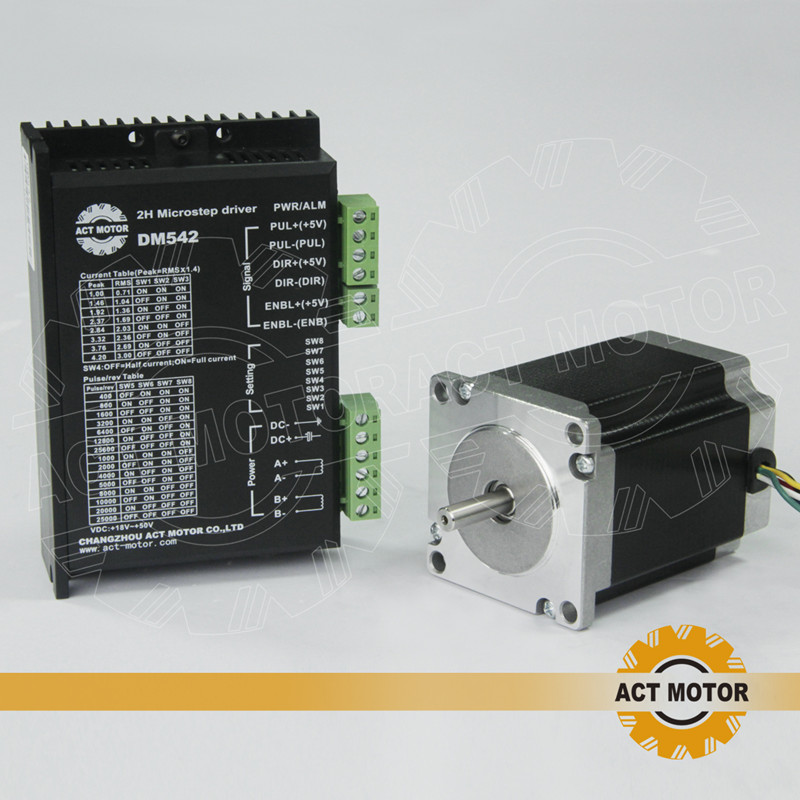ACT Motor 1PC Nema23 Stepper Motor 23HS8630 Single Shaft 6-Lead 270oz-in 76mm 3A+1PC Driver DM542 4.2A 50V 128Micro US DE Free free ship 3pcs dual shaft nema 23 stepper motor 1 89n m 268oz in 76mm 3a direct selling