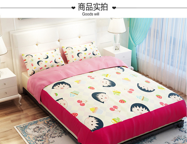 Chibi Maruko Kids Pink Girls Bedding Set Duvet Cover Twin Queen King Size  Fitted Bed Sheet