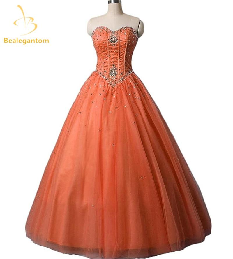 Bealegantom Tulle Quinceanera Dresses 2019 Ball Gown Beaded Crystals Lace Up Sweet 16 Dress Debutante Vestidos De 15 Anos QA1170