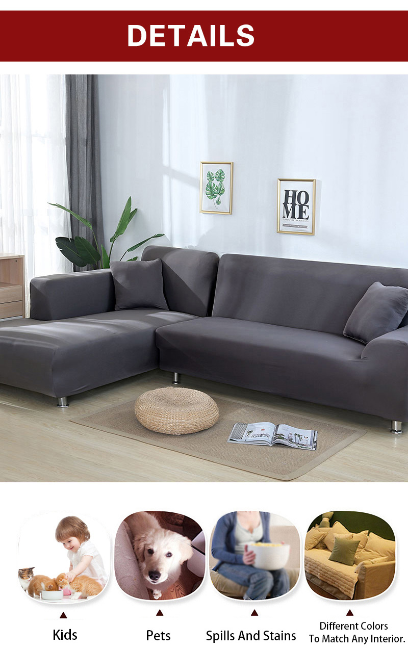 L shaped Solid Sofa Cover with Elastic for Sectional and Corner Sofa with Deep Gap Suitable in Living Room and Office 11
