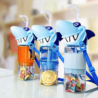 New shark head cup creative fashion wind and cloud water cup Water Bottle with A straw Can be split creative cup