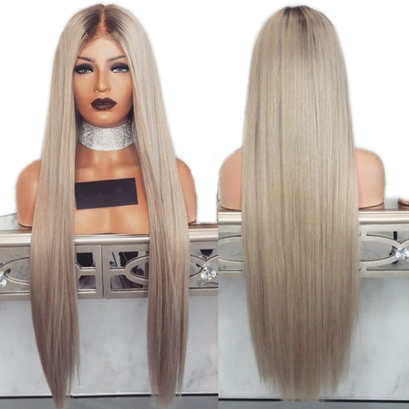 Simbeauty Middle Part Straight Ombre Ash Blond  Lace Front Human Hair Wigs #4T60 Brazilian Remy PrePlucked With Baby Hair