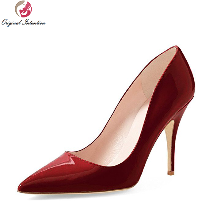 цена Original Intention Women Pumps Pointed Toe Thin Heels Pumps Black Brown Leopard Nude Red Wine Red Shoes Woman Plus Size 4-15