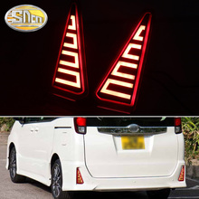 цена на 2PCS Multi-functions Car LED Rear Fog Lamp For Toyota NOAH VOXY 80 Series Brake Light Rear Bumper Decoration Lamp