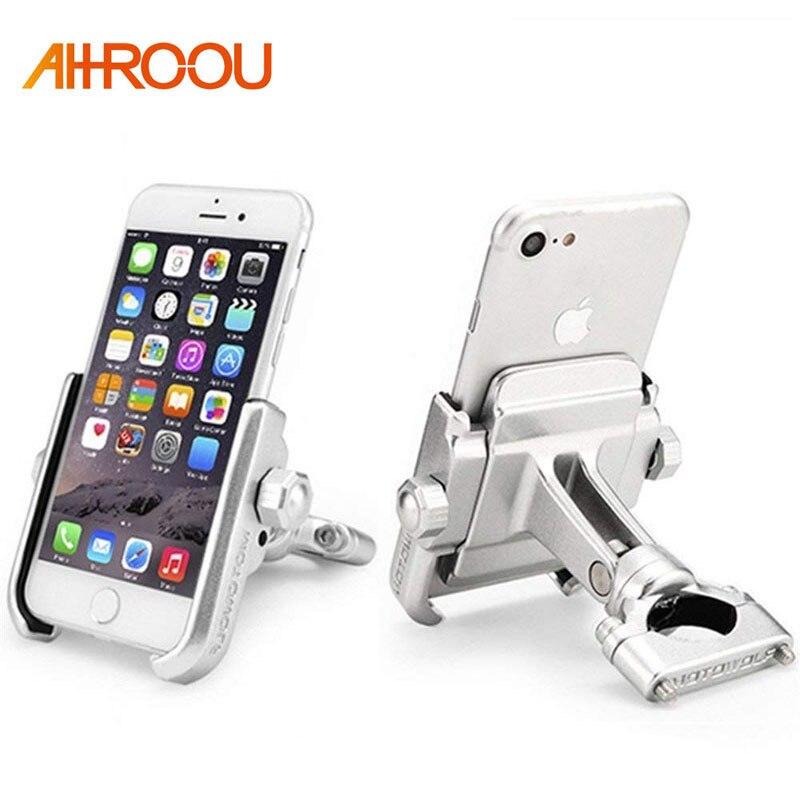 Universel Aluminium Alliage Moto Support de Téléphone Pour iPhoneX 8 7 6 s Soutien Téléphone Moto Support Pour GPS Vélo Guidon titulaire