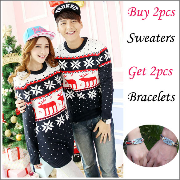 2 Pieces! Matching Christmas Reindeer Sweaters Jumper For Women ...