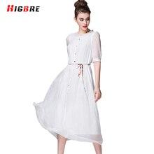 New European 100 Silk Dress For Women Is Natural Silk White Dress Maxi Summer 2017 Fashion