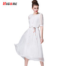 New European 100 Silk Dress For Women Is Natural Silk White Dress Maxi Summer 2017 Fashion Vestidos Single Breasted Dresses Work