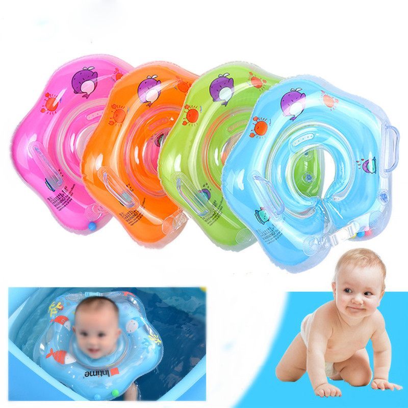 New Arrival PVC Inflatable Baby Infant Kids Swimming Neck Float Ring Water Fun Newborn Bath Pool Beach Circle 4 Colors