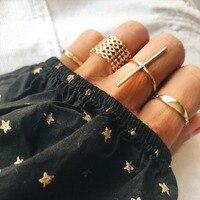 Винтажные золотые геометрические кольца в форме буквы Т для женщин и девочек металлические кольца на палец Midi Anillos ювелирные изделия 7 шт.