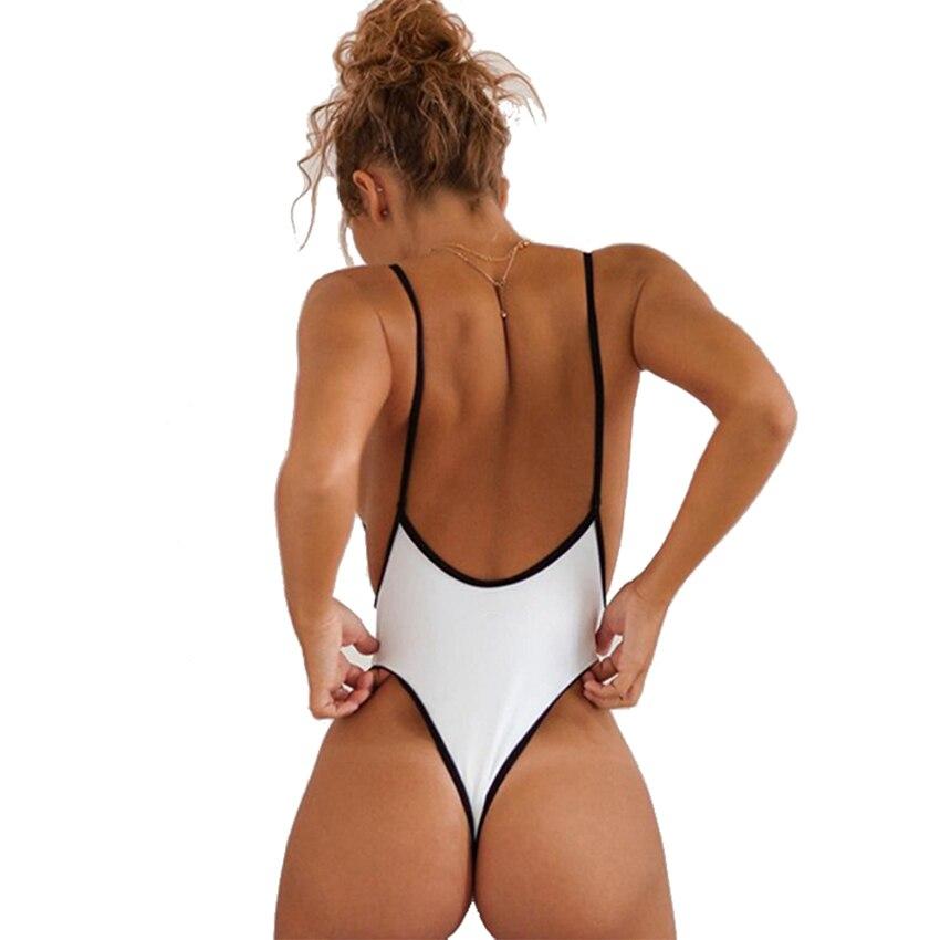 a06a2bda05 S-XL Sexy One Piece Swimsuit Thong Swimwear Women Deep V Neck Bodysuit High  Cut