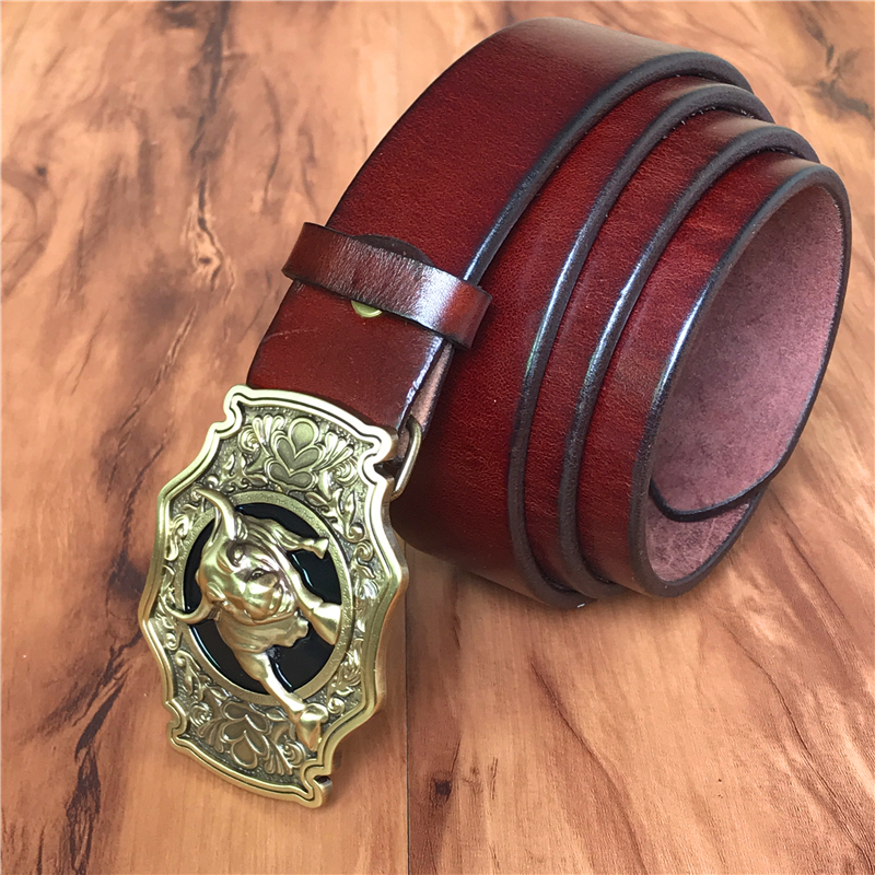 Cinturón de vaquero de toro de latón hebilla de cinturón de hombre cinturón de cuero genuino grueso hombres Ceinture Homme Cinturon Jeans correa de cintura MBT0524 - 4