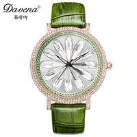 2016 Best Luxury Dazzling Crystal Women Dress Rhinestone Wristwatch Original Leather Watches Fashion Quartz Watch Davena