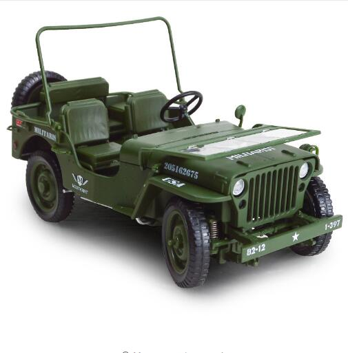 Alloy Diecast 1:18 For Jeep Military Tactics Car Model Opening Hood Panels To Reveal The Engine Toys For Children Gift