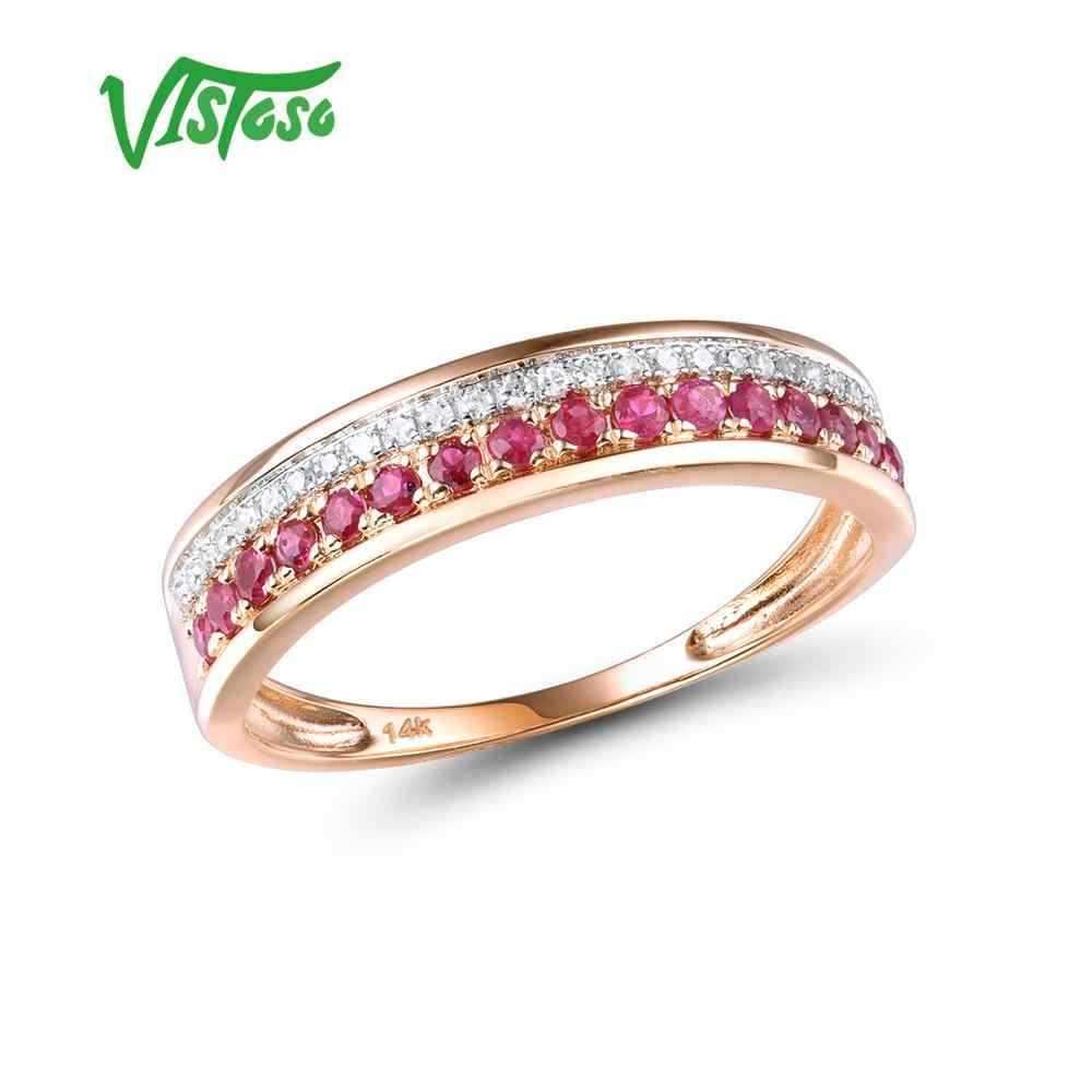 VISTOSO 14 K Rose Gold แหวนสำหรับสุภาพสตรีของแท้เงาเพชรแฟนซีทับทิม/Sapphire/Emerald ครบรอบ Chic เครื่องประดับ Fine