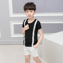 2019 summer stripe shorts suit children Fashion  toddler boys clothing set Cotton Short clothes ALI 295